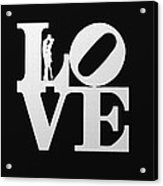 Love Typography And Kissing Couple Acrylic Print