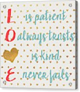 Love With Gold Hearts Acrylic Print
