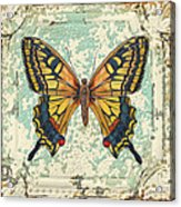 Lovely Yellow Butterfly On Tin Tile Acrylic Print