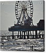 Lovers And A Surfer At Pleasure Pier Acrylic Print