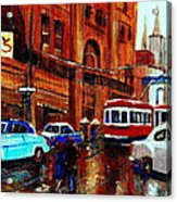 Lovers In The Rain Stroll St Catherine Street Near Morgans Department Store Vintage City Scene Art Acrylic Print