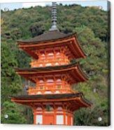 Low Angle View Of A Small Pagoda Acrylic Print