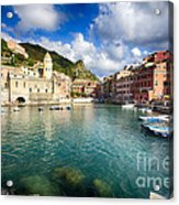 Low Angle View Of Vernazza  Harbor Acrylic Print by George Oze