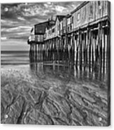 Low Tide At Orchard Beach Black And White Acrylic Print by Jerry Fornarotto
