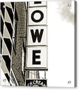 Lowe Drug Store Sign Bw Acrylic Print by Andee Design