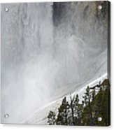 Lower Falls Of The Yellowstone Close-up In Spring Acrylic Print