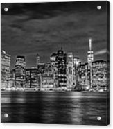 Night Skyline Of Lower Manhattan From Brooklyn Acrylic Print