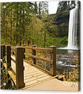 Lower South Waterfall With Footbridge In Oregon Columbia River Gorge. Acrylic Print