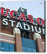 Lucas Oil Stadium Sign Acrylic Print by James Drake
