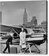 Lucille Cahart With Small Plane In Nyc Acrylic Print
