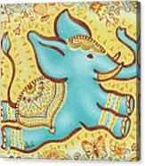 Lucky Elephant Turquoise Acrylic Print