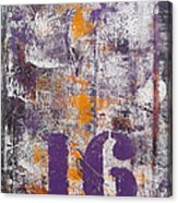 Lucky Number 16 Purple Orange Grey Abstract By Chakramoon Acrylic Print