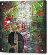 Lucky Number 9 Green Red Grey Black Abstract By Chakramoon Acrylic Print