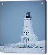 Ludington North Pier Lighthouse In Winter Acrylic Print