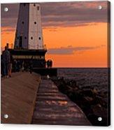 Ludington Pier And Lighthouse Acrylic Print