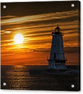 Ludington Pier Lighthead At Sunset Acrylic Print