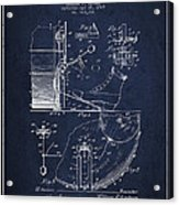 Ludwig Foot Pedal Patent Drawing From 1909 - Navy Blue Acrylic Print