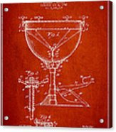 Ludwig Kettle Drum Drum Patent Drawing From 1941 - Red Acrylic Print