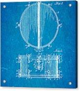 Ludwig Snare Drum Patent Art 1912 Blueprint Acrylic Print