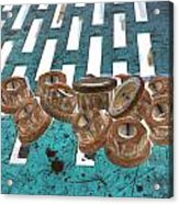 Lug Nuts On Grate Vertical Turquoise Copper Acrylic Print