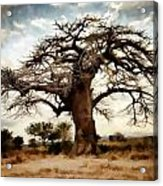 Luminous Sky And Tree Skeleton On The Prairie Acrylic Print