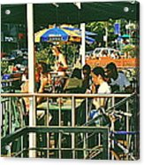 Lunch Party At The La Belle Gueule Brasserie Terrace - Park Your Bike And Enjoy The Sunny Day Acrylic Print