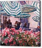 Lunch Under Umbrellas Acrylic Print by Kris Parins