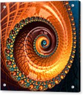 Luxe Fractal Spiral Brown And Blue Acrylic Print