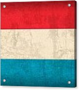 Luxembourg Flag Vintage Distressed Finish Acrylic Print