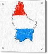 Luxembourg Painted Flag Map Acrylic Print