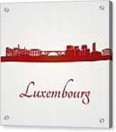 Luxembourg Skyline In Red Acrylic Print