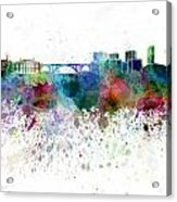 Luxembourg Skyline In Watercolor On White Background Acrylic Print