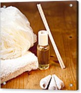 Luxury Bath Or Shower Set With Towel Sponge Perfume And Shells On Wooden Table Acrylic Print by Gino De Graaf