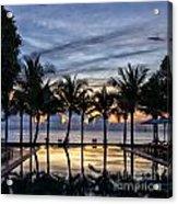 Luxury Infinity Pool At Sunset Acrylic Print