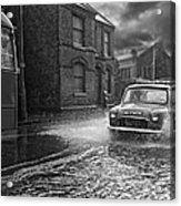 Lye Rain Storm, Morris Mini Car - 1960's    Ref-246 Acrylic Print