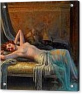 Lying Nude In A Bed Of Roses Acrylic Print by Delphin Enjolras
