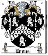 Lyons Coat Of Arms Westmeath Irish Acrylic Print