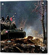 M48 Tanks An Tankers On The Job In Korean War Acrylic Print