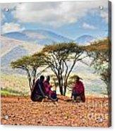 Maasai Men Sitting. Savannah Landscape In Tanzania Acrylic Print