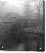 Mabry Mill In Fog Bw Acrylic Print