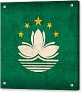 Macau Flag Vintage Distressed Finish Acrylic Print
