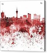 Macau Skyline In Red Watercolor On White Background Acrylic Print