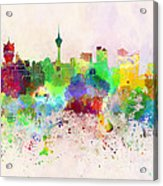 Macau Skyline In Watercolor Background Acrylic Print