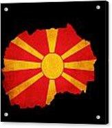 Macedonia Grunge Map Outline With Flag Acrylic Print