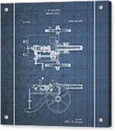 Machine Gun - Automatic Cannon By C.e. Barnes - Vintage Patent Blueprint Acrylic Print