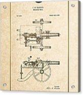 Machine Gun - Automatic Cannon By C.e. Barnes - Vintage Patent Document Acrylic Print