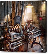 Machinist - Fire Department Lathe Acrylic Print by Mike Savad