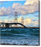 Mackinac Among The Waves Acrylic Print