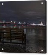 Mackinac Bridge And Bench Acrylic Print