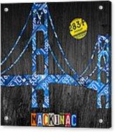 Mackinac Bridge Michigan License Plate Art Acrylic Print